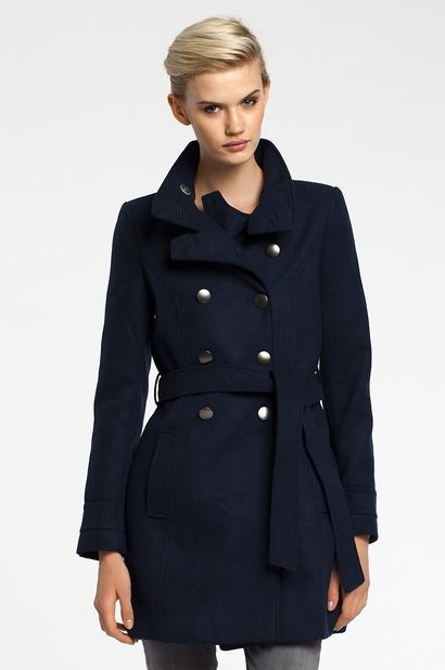 Dwurzędowy płaszcz Vila granatowy - Navy coat