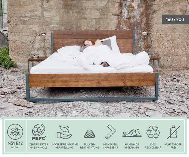 Betten - LOFT VINTAGE INDUSTRIAL BETT 160x200 HOLZ + STAHL - ein Designerstück von N51E12 bei DaWanda
