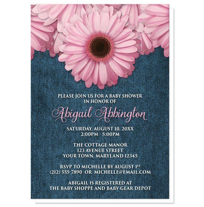 Thank you, Janice in New York, for your purchase of these Rustic Pink Daisy Denim Baby Shower Invitations. (2/5/2017)