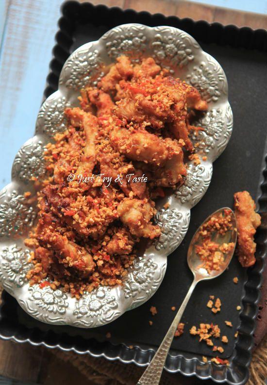 Ayam Goreng Tabur Cabai, Bawang, Garam