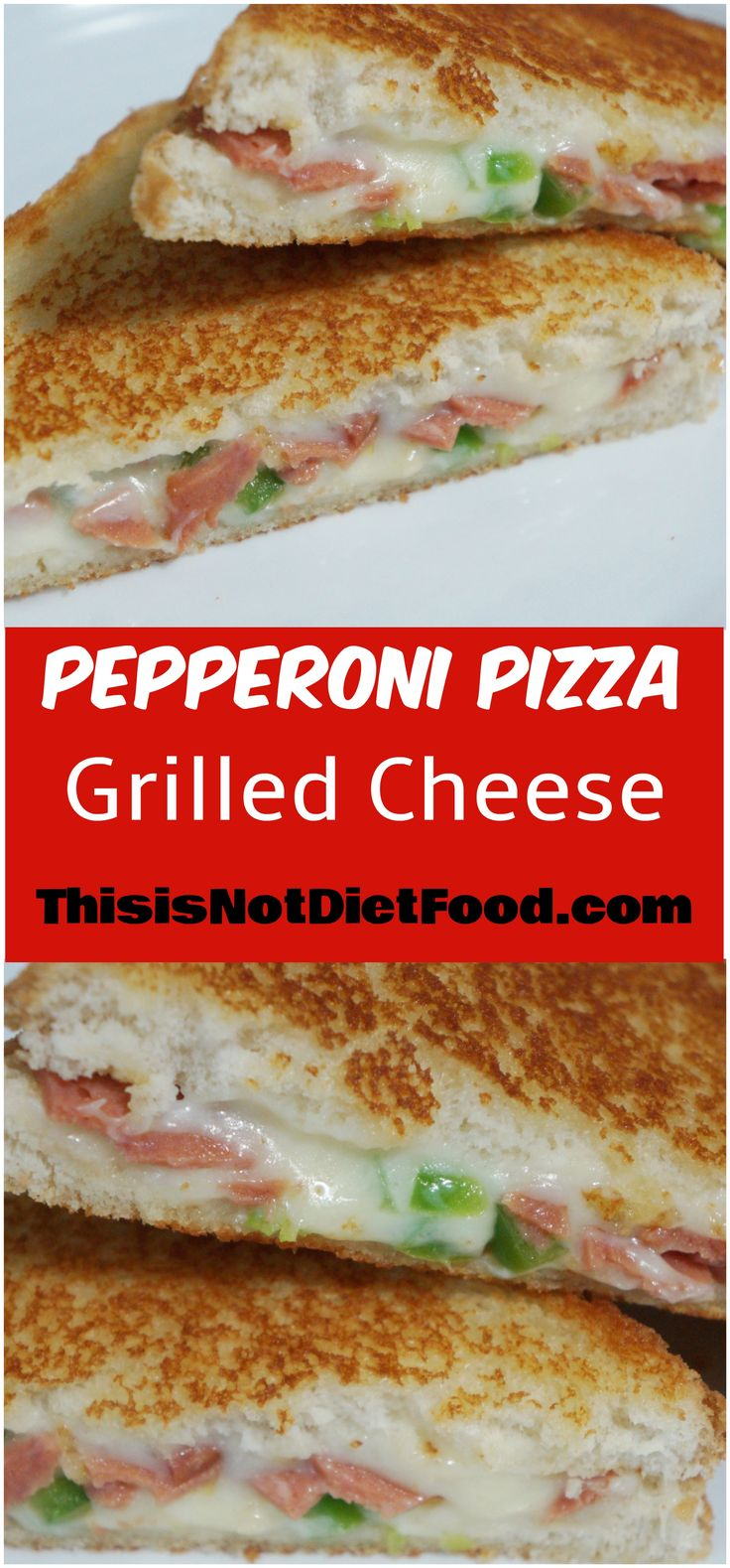 Pepperoni Pizza Grilled Cheese with Green Peppers and Mozzarella Cheese. Quick and easy meal idea. Great for kids.