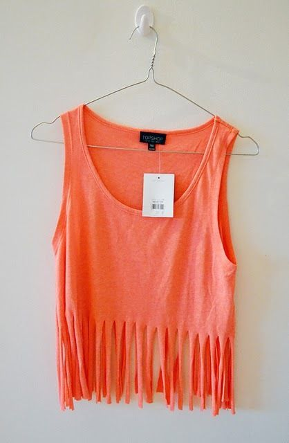 This is begging to be DIYed! + Orange fringe crop top