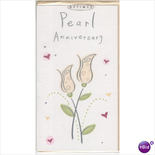 Pearl Wedding Anniversary card, ( 30th 30 th thirty 5 ...