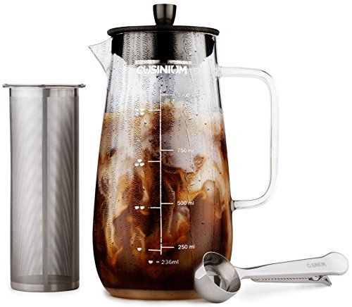 Includes Scoop /& Clip Spoon Glass Coffee Carafe 1 Quart Iced Brewed Tea Maker Fruit Infuser Pitcher Cold Brew Iced Coffee Maker