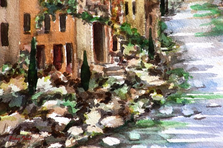 Lagrasse (20) - Phong Trinh Watercolor. More Fine Art Print Available at http://www.artpal.com/phongtrinh/