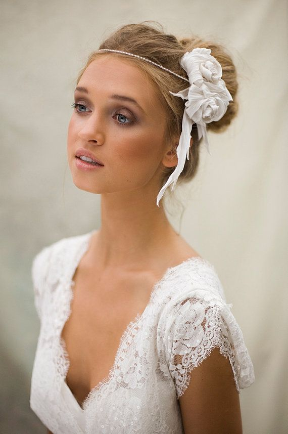 Silk Boho Rose Bridal Hair Accessory by MaggieMowbrayHats on Etsy, £110.00