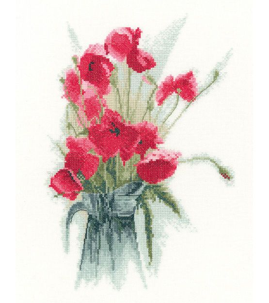 Jug Of Poppies Cross Stitch Kit £25.50 | Past Impressions | Heritage Crafts