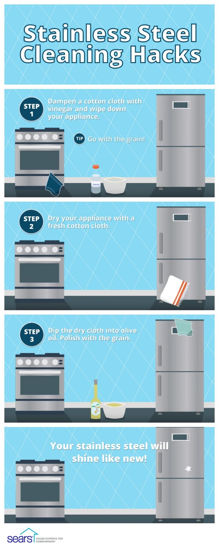Dirty, dull appliances don't stand a chance against these stainless steel appliances cleaning hacks from Sears Home Services. Did you know that your stainless steel has a grain just like wood? If you polish against the grain, cleaning residue and dirt will be pushed farther into the grooves of the stainless steel, causing your appliance to look even dirtier. Check out these cleaning hacks to make sure that your stainless steel appliances shine like new.