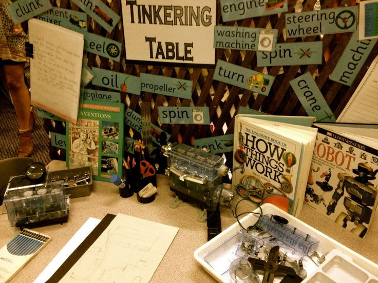 Tinkering table at Penbank School - Australia. For more inspiring classrooms visit: http://pinterest.com/kinderooacademy/provocations-inspiring-classrooms/ ≈ ≈