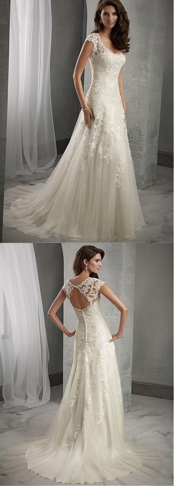 Charming A-line Tulle Scoop Neckline Beaded Lace Appliques wedding dresses, WD03…