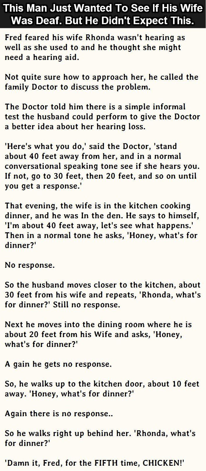 This Man Just Wanted To See If His Wife Was Deaf But He Didn't Expect This funny jokes story lol funny quote funny quotes funny sayings joke hilarious humor stories marriage humor funny jokes