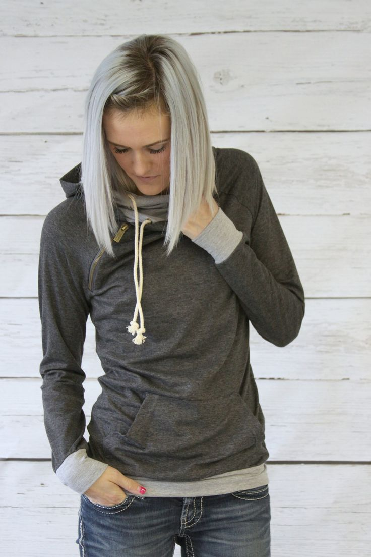 Double Hooded Sweatshirt -  Gray