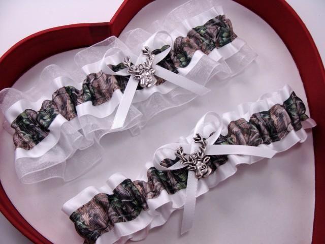New White Mossy Oak Camouflage Camo Wedding Garter Hunting Deer Hunter Chick Prom GetTheGoodStuff