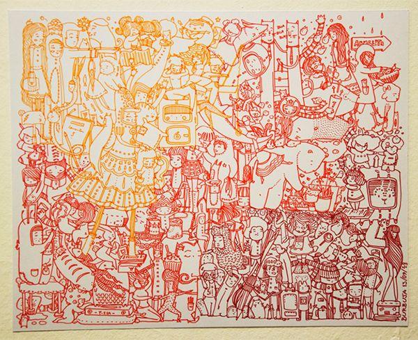 """""""Volviendo a Jugar"""", tamaño 28x35 cm, microfibras de colores /  """"Returning to Play"""", size 28x35 cm , color pens"""