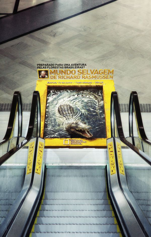 NatGeo - Mundo Selvagem by Miagui Imagevertising, via Behance| #public #downstairs #foil #escalator #creative #viral #guerillamarketing #awareness #guerilla #btl < found on www.chipshopawards.com pinned by www.GuerillaMarketing-Hamburg.de a project of www.BlickeDeeler.de