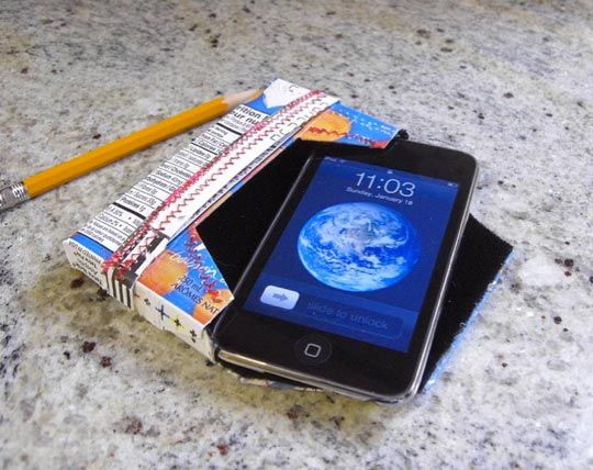 DIY Recycled iPhone and iPod Case Made from a Juice Box