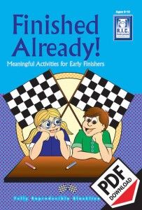 Finished Already middle Primary. Ebook PDF. Early finisher and fast finisher ideas, activities and worksheets. Download today!