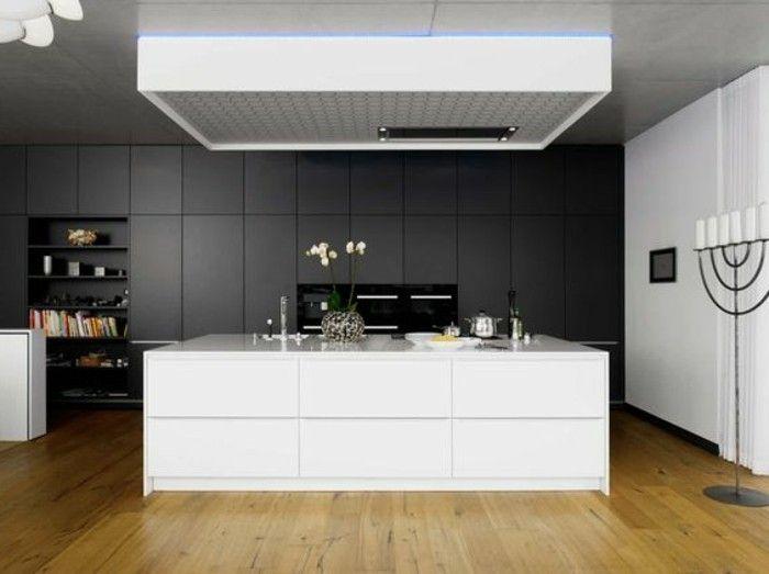, ilot cuisine blanc, meuble cuisine gris anthracite, cuisine moderne