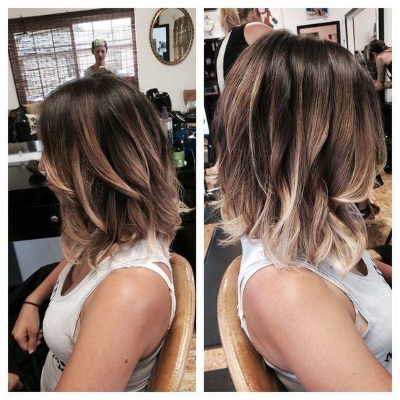 Idées Ombre Balayage Lob Haircut - Fille coiffure pour cheveux épais
