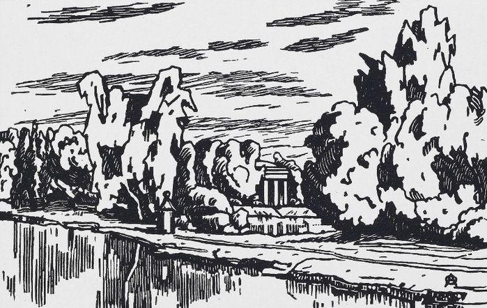 «Храм дружбы» среди пейзажа (700x442, 156Kb) Пейзажи Павловска. Графика Остроумовой-Лебедевой А.П. (1871 — 1955)
