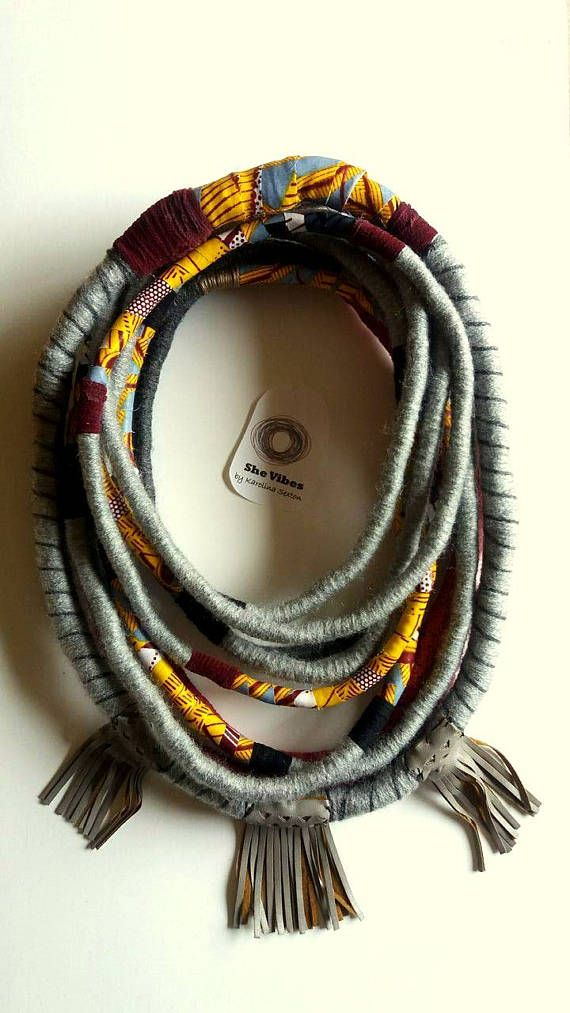 Unique/ Yarn Wrapped Necklace/ African Style/ Street Style/