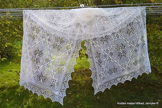 Hand knitted Haapsalu shawl Star of Muhu by AnnysLacyBoutique