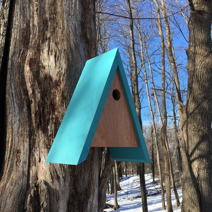 A personal favorite from my Etsy shop https://www.etsy.com/listing/264984269/fred-modern-birdhouse-in-mahogany-and