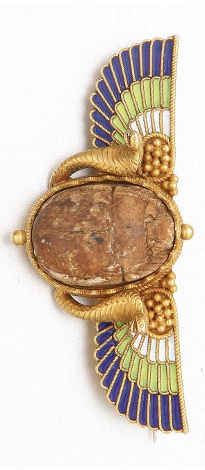 EGYPTIAN REVIVAL GOLD, ENAMEL AND ANCIENT SCARAB BROOCH, CIRCA 1880.