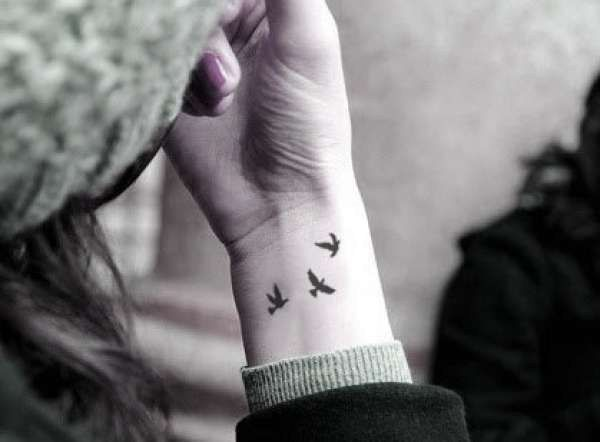 A flock of birds: | 65 Totally Inspiring Ideas For Wrist Tattoos