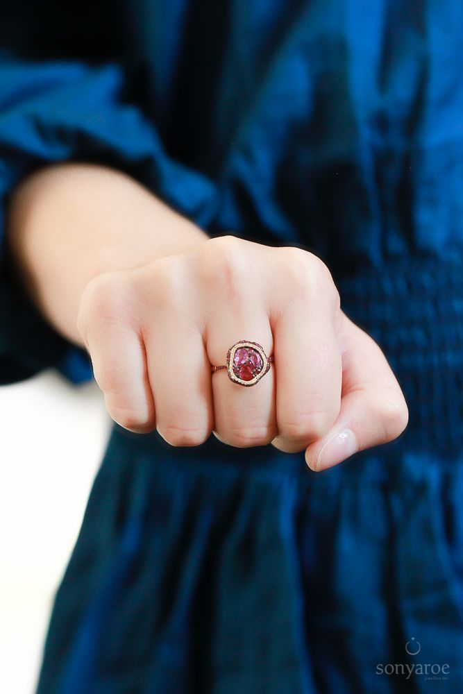 POW! Ruby and Pink Sapphire Mosaic ring with Diamonds at the store.. Follow @sonyaroejewellers on Instagram and Facebook to get in touch