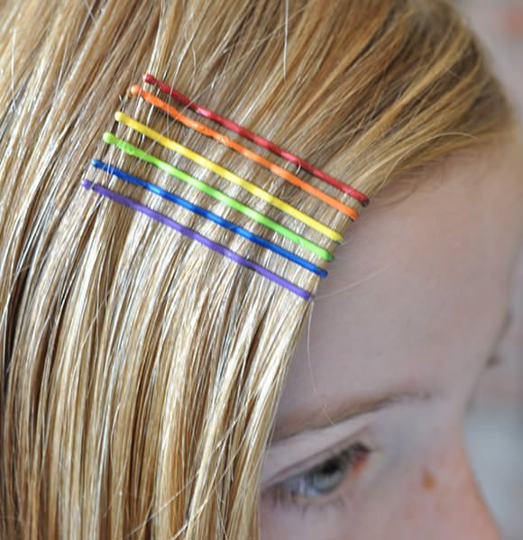 DIY Rainbow Hair Accessories Using Nail Polish.  Neon color would look good with dark hair as well