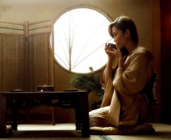 Michelle Yeoh; nothing like a cup of calming tea....