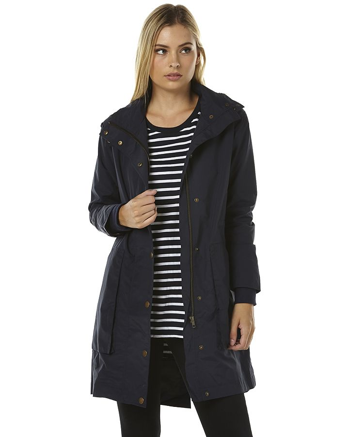 Features:Womens JacketsColour: Stone BlueMade from: Cotton/NylonLining: 100% PolyesterFishtail detailing at backZip and snap button closureDetachable hoodAdjustable drawstring at waistFront pocketsSize + Fit Guide:Models hips measure: 86cmModel is wearing a size 8/S