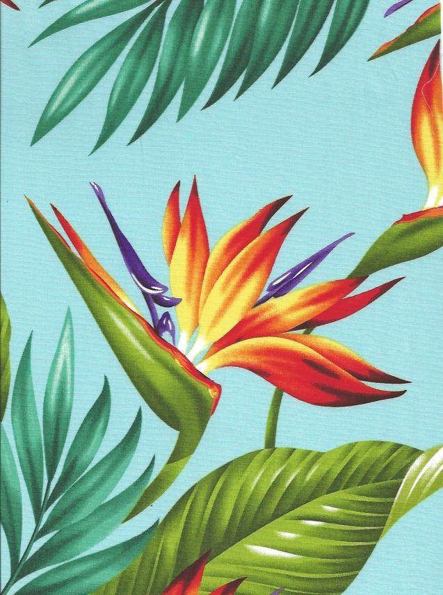 Tropical Hawaiian Bird of Paradise flowers and leafy palm fronds cotton poplin apparel fabric.More fabrics at BarkclothHawaii.com