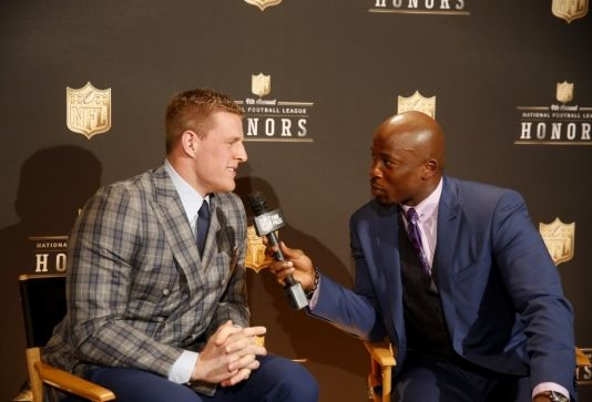 J.J. Watt, of the Houston Texans, winner of the AP defensive player of the year award, participates in an interview backstage at the 4th annual NFL Honors at the Phoenix Convention Center Symphony Hall on Saturday, Jan. 1, 2015. (Photo by Colin Young-Wolff/Invision for NFL/AP Images)