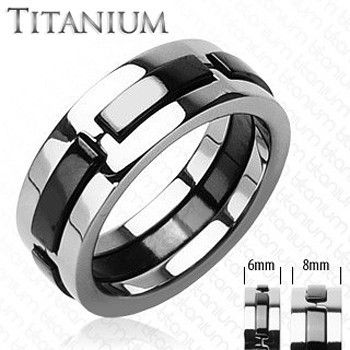 Tango - Raised Carbon Strips Solid Titanium with Onyx Colored Band. #BuyBlueSteel #MensWeddingRings