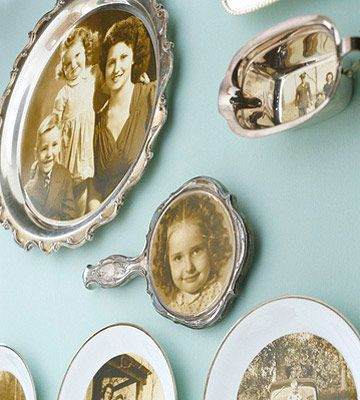 """How to Get a Unique Photo Display - to create a distinctive display of photos, choose unexpected """"frames,"""" such as a silver platter, a mirror, dessert plates, even a gravy boat."""