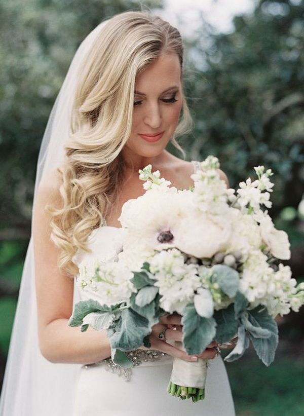 Side Swept Wedding Hairstyle For Long Hair With Veil Wedding Hair