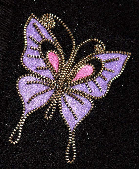 Purple Butterfly designer zipper and felt handmade brooch