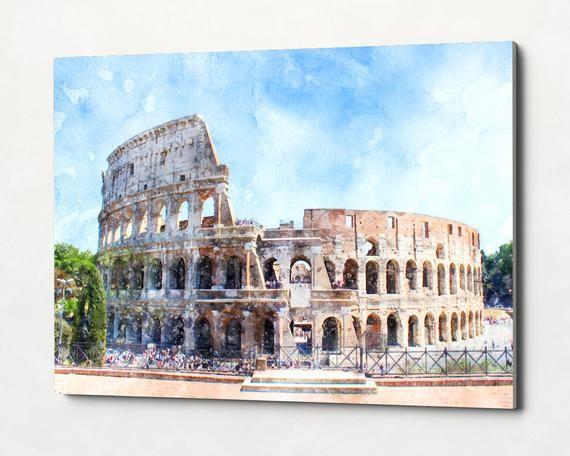 Canvas Print Coliseum Rome Ready To Hang Watercolor Skyline Etsy Landscape Art Watercolor Canvas Painting