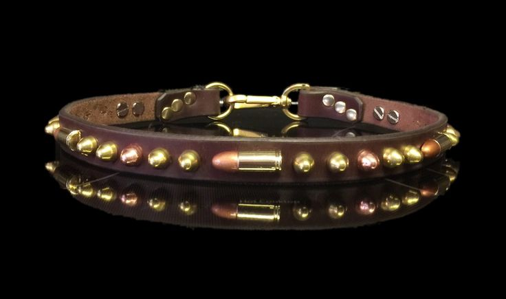 The SHERIFF Tag Holder Leather Dog Collar, w/ brass & copper bullet conchos and studs, easy off swivel, by Picasso Collars by PicassoCollars on Etsy