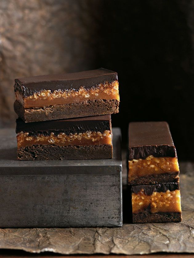 caramel crunch brownie Donna Hay Caramel/rice cereal layer can be used in Peanut Butter Stack bar recipe (sweet street usa)