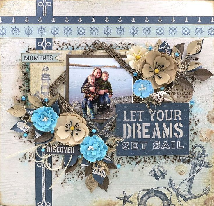 """Kaisercraft """"High Tide"""" collection. http://www.kathymosher.com/kayhysblog/2017/7/30/scraps-of-darkness-june-layout"""