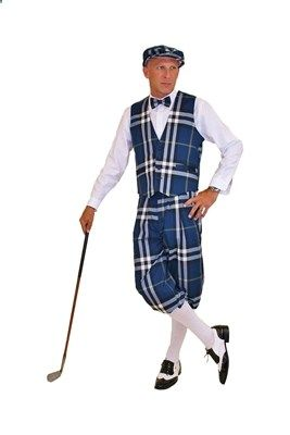 Golf Knickers - Navy Blue Plaid Cap, Bow Tie, Vest and Knickers make this an Outrageous Golf Knicker Outfit.