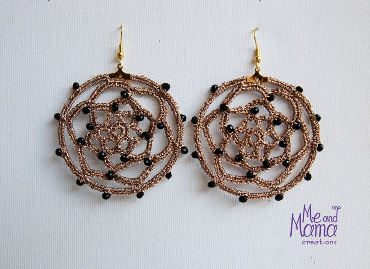 Rose gold Dreamcatcher dangle earrings. Wedding jewelry. Crochet Hoops Earrings. Gift for Her/ teens. Stocking stuffer, Gift under 25euros by MeandMamaCreations on Etsy