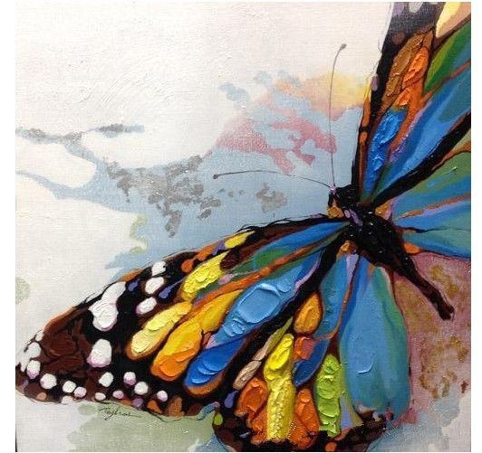 handpainted wall paintings home decorative butterfly modern abstract oil painting on canvas home decor