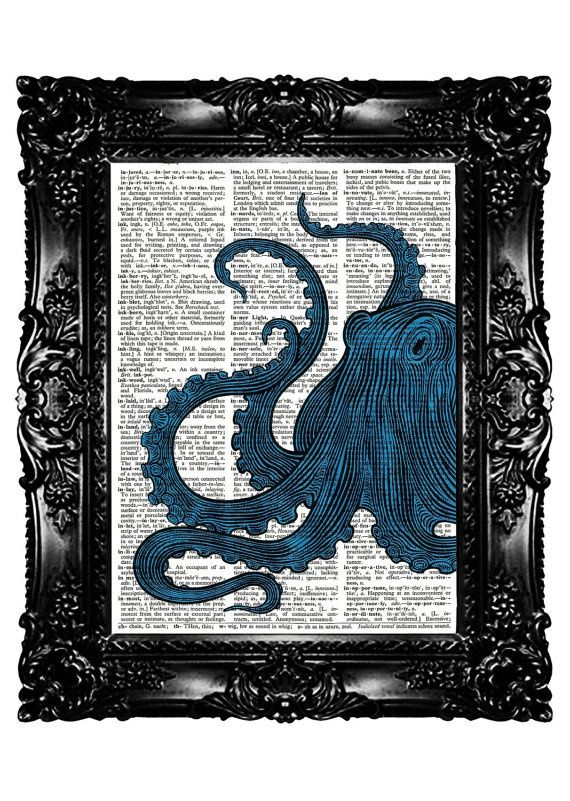 Lara+Spencer+Upcycling+Ideas | Octopus Big BLUE Upcycled Book Recycled Art Print by nommon, on Etsy