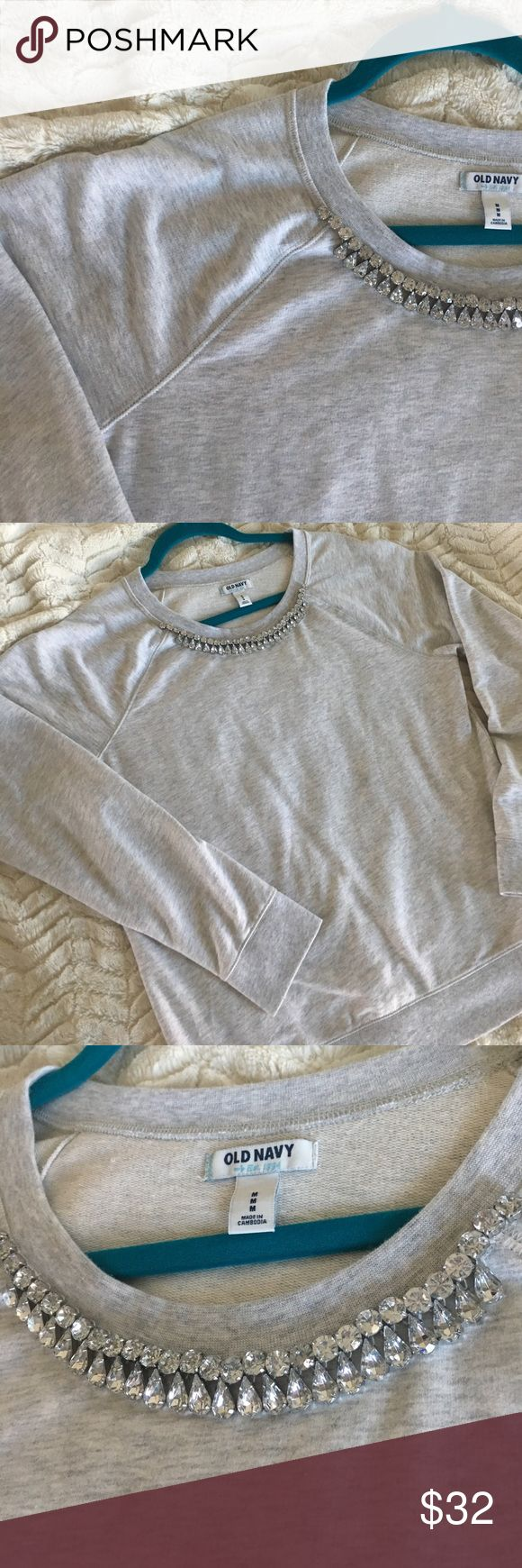Old Navy Rhinestone Sweatshirt Stunning rhinestones on this lightweight grey Old Navy sweatshirt. Immaculate condition. Like new. Worn once at most. All rhinestones are in place and gorgeous!!! Accepting reasonable offers🌈 Old Navy Tops Sweatshirts & Hoodies