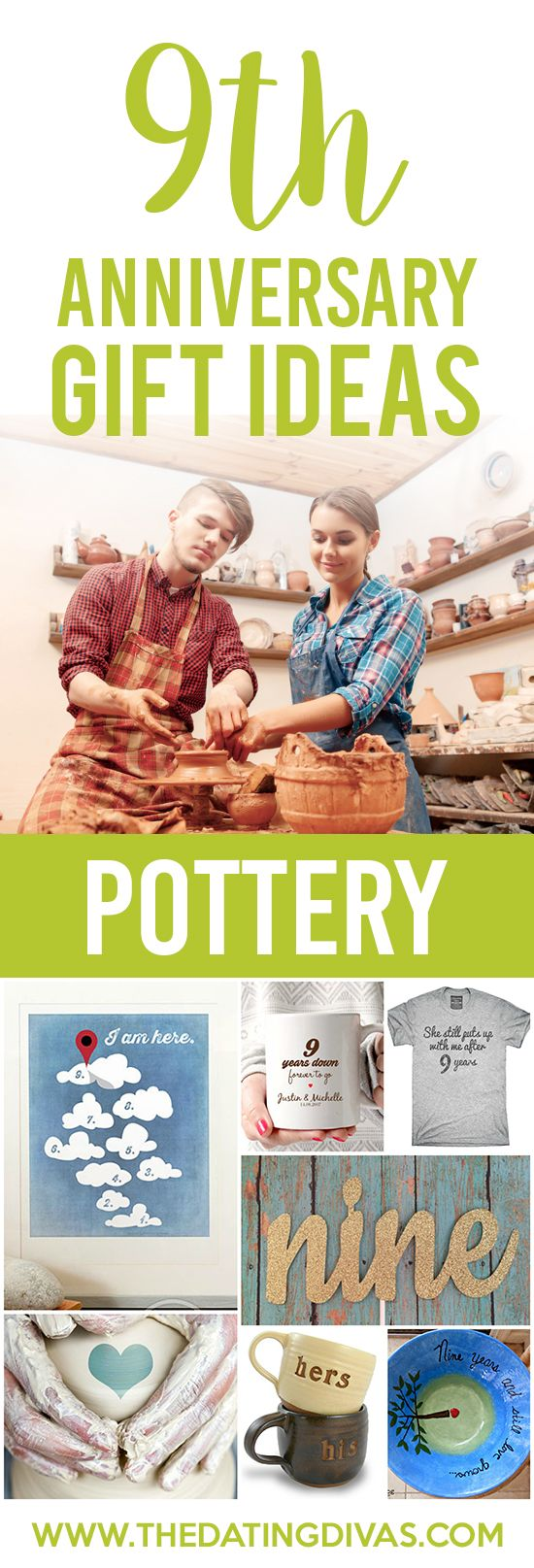 9th Anniversary Gift Ideas for your Pottery Anniversary. Super cute ideas!