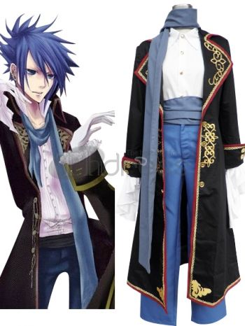 Vocaloid fans are going to recognize this dapper costume as belonging to their beloved character Kaito. It features a long and gorgeous dress coat with embroidery and gold and red trim on the lapels. The same intricate embroidery embellishes the cuffs and collar of the coat and the red trim outlines the straight edges elegantly. An elegant dress shirt with a high collar and gold buttons is worn beneath the jacket. A handsome blue waist sash embellishes the midsection of the suit